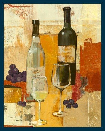 Bild mit Rahmen Avery Tillmon - Contemporary Wine Tasting II - Digitaldruck - Holz blau, 60 x 75cm - Premiumqualität - moderne Malerei, Stillleben, Weinflaschen, Weingläser, Weinprobe, Weintrauben, Traube.. - MADE IN GERMANY - ART-GALERIE-SHOPde