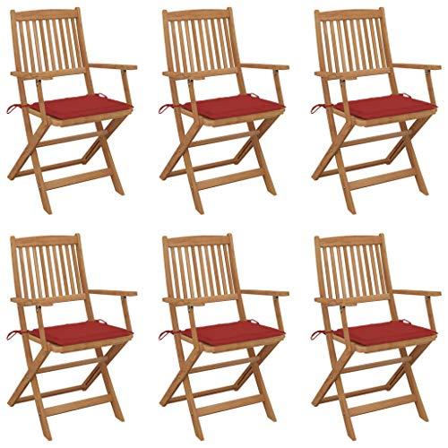 vidaXL 6X Akazienholz Massiv Gartenstuhl Klappbar mit Kissen Armlehnen Klappstuhl Stuhl Gartenstühle Stühle Klappstühle Holzstuhl Gartenmöbel