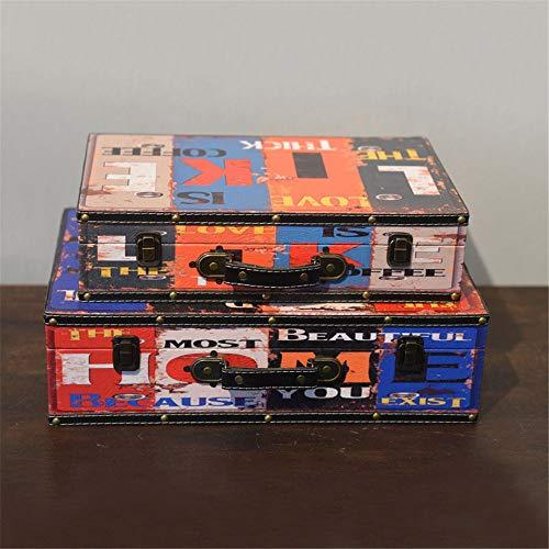 Dfghbn Caja De Tesoro Decorativa Antiguo portátil de Madera Maleta Tienda de Ropa La fotografía apoya Ventana Decoración Adornos (Color : C, Size : 2pcs)
