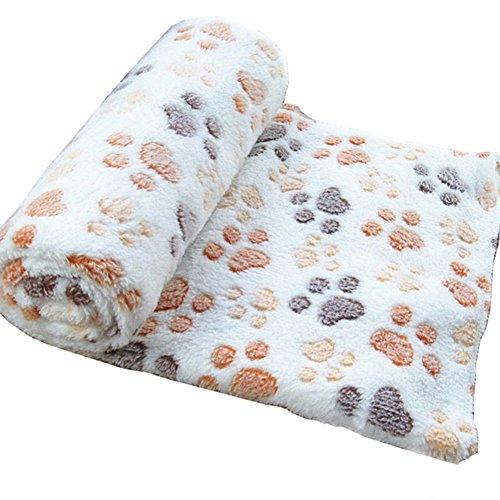 Milopon Manta Huellas Patas de Perro Suave de Abrigo para Hogar Cuarto Bebés Niños Mascotas Blanco 100*80cm