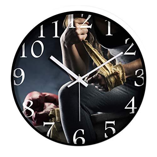 Everyday home Horloge murale ronde créative Gym Sanda Boxe salle intérieure Horloge silencieuse moderne Quartz muet (Couleur : Blanc, taille : 12 pouces)