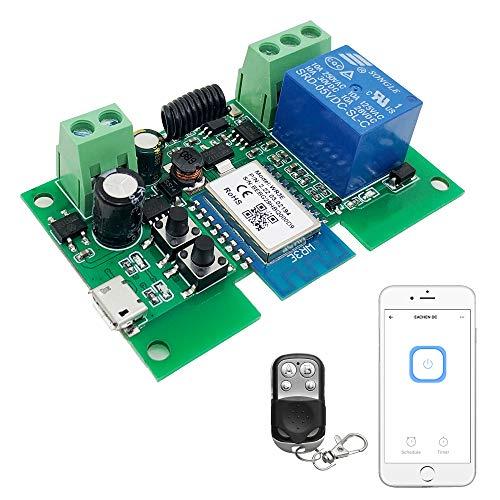 Newgoal WiFi módulo de relé de micro-movimiento/autobloqueo interruptor momentáneo WiFi con control remoto RF de 433 MHz (aplicación Tuya SmartLife)