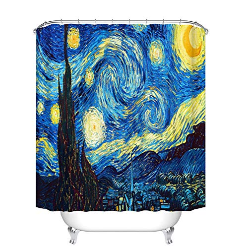 Fangkun Polyester Fabric Bath Curtains - Starry Night Artwork Abstract Oil Painting Art Print Shower Curtain Sets - 12pcs Shower Hooks - 72 x 72 inches