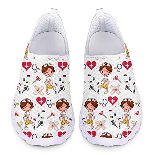 Showudesigns Trabajar Deportivos Enfermera Zapatos Sanitarios Mujer Transpirables Caminar Zapatilla para Gimnasio Tenis Zapatos cómodos y Ligeros Talla 38 EU Naranja