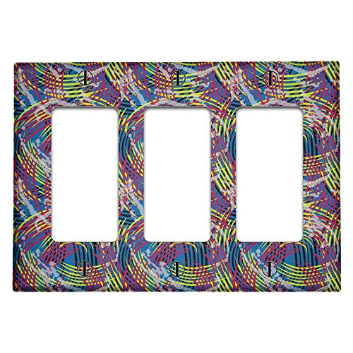 Triple 3 Gang Rocker (Decora/GFCI Device) Decorative Switch Wall Plate Cover (Blue Red Yellow Pattern)