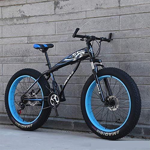 GuoEY Bicicleta de Nieve Freno de Disco Doble Rueda Ancha Bicicleta de montaña 26/24 Pulgadas Adulto, Amortiguador Completo Adulto Neumático Gordo Velocidad de la Carretera Marco de Descenso Bicic