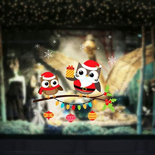 Weihnachten Fensterbilder Eule Wandsticker, Abnehmbare Winter Statisch Haftende PVC Aufklebe Wandtattoo DIY Weihnachtsdeko Fensterdeko Wanddeko für Türen, Schaufenster, Vitrinen, Glasfronten