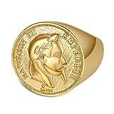 BOBIJOO Jewelry - Chevalière Bague Napoleon Pièce 20 Francs Tête Laurée Plaqué Doré ...