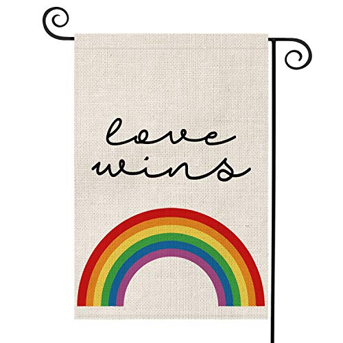 AVOIN Love Wins Rainbow Garden Flag Vertical Double Sided Pride Gay Pride Lesbian LGBT, Pansexual Flag Yard Outdoor Decoration 12.5 x 18 Inch