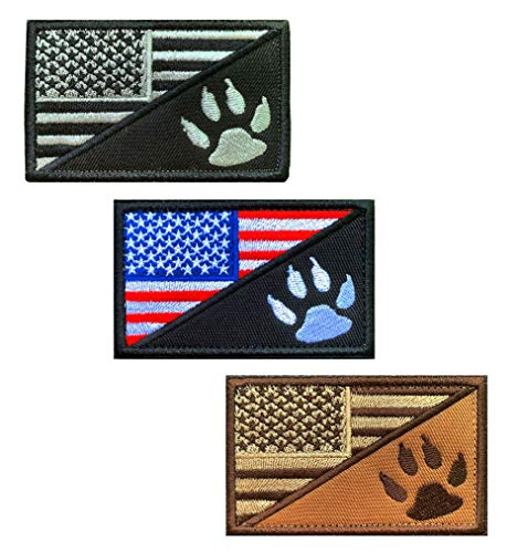 3 Packs Tactical American Flag/Dog Paw Dog Paw Tracker Patch, Military K9 Police Army Dog Service Dog Patches with Hook and Loop for Medium and Large Dog Animal Vests Harnesses Collar