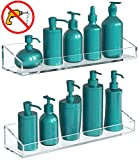 Vdomus Acrylic Bathroom Shelves, Wall Mounted Non Drilling Thick Clear Storage & Display Shelvings, 2 Pack