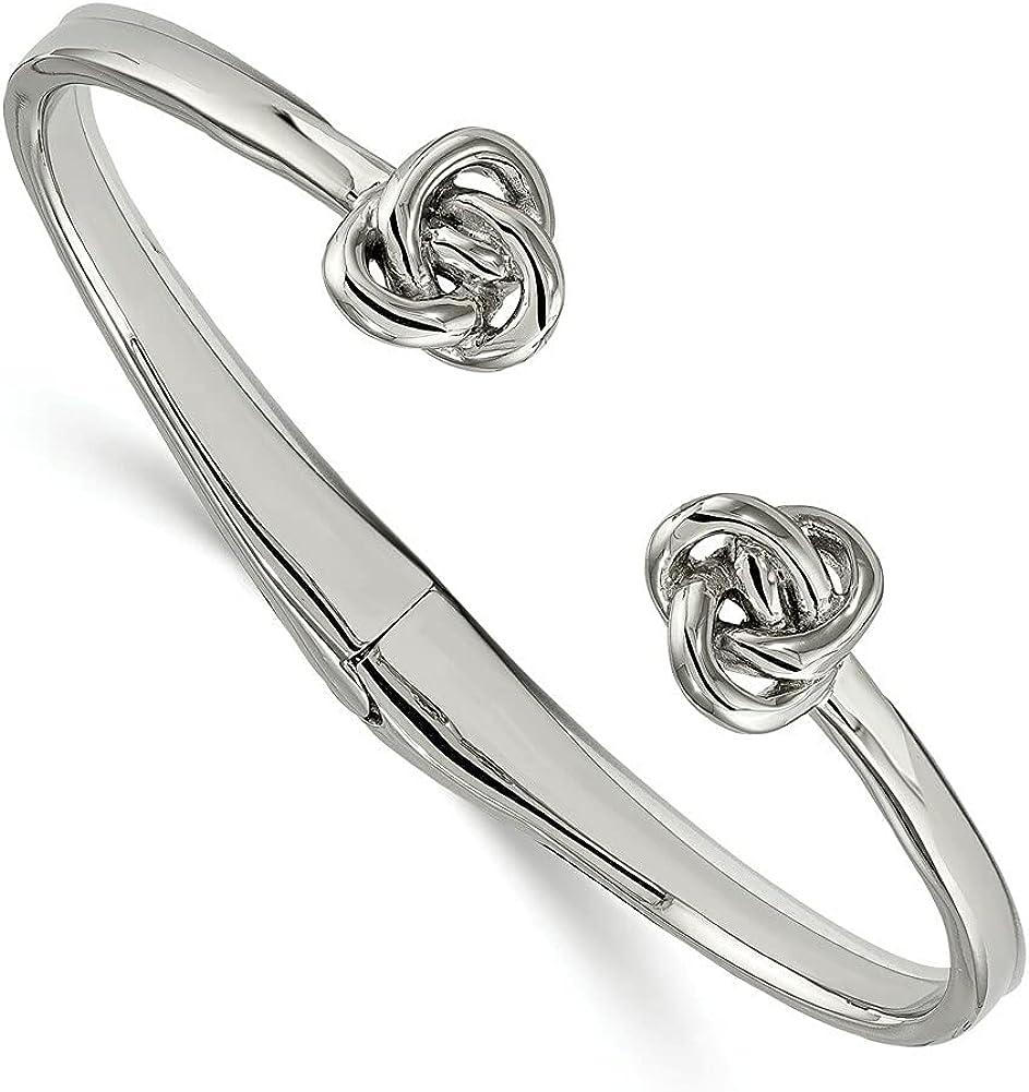 Lex & Lu Chisel Stainless Steel Polished Knot Hinged Cuff Bangle Bracelet