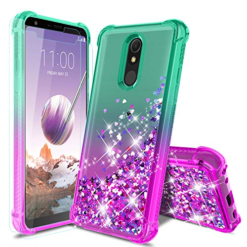 LG Stylo 5 Phone Case, LG Stylo 5/5 +/5V/LG stylo 5 plus Case with 2Pcs Screen Protector, Four Reinforced Corners TPU Bumper Cushion Protective Shockproof Phone Cover for Girls Women, Mint/Purple