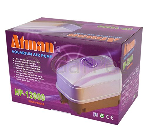 Atman HP-12000 Luft Membran Sauerstoff Pumpe Teich Belüfter Koi Kompressor Eisfreihalter Filter