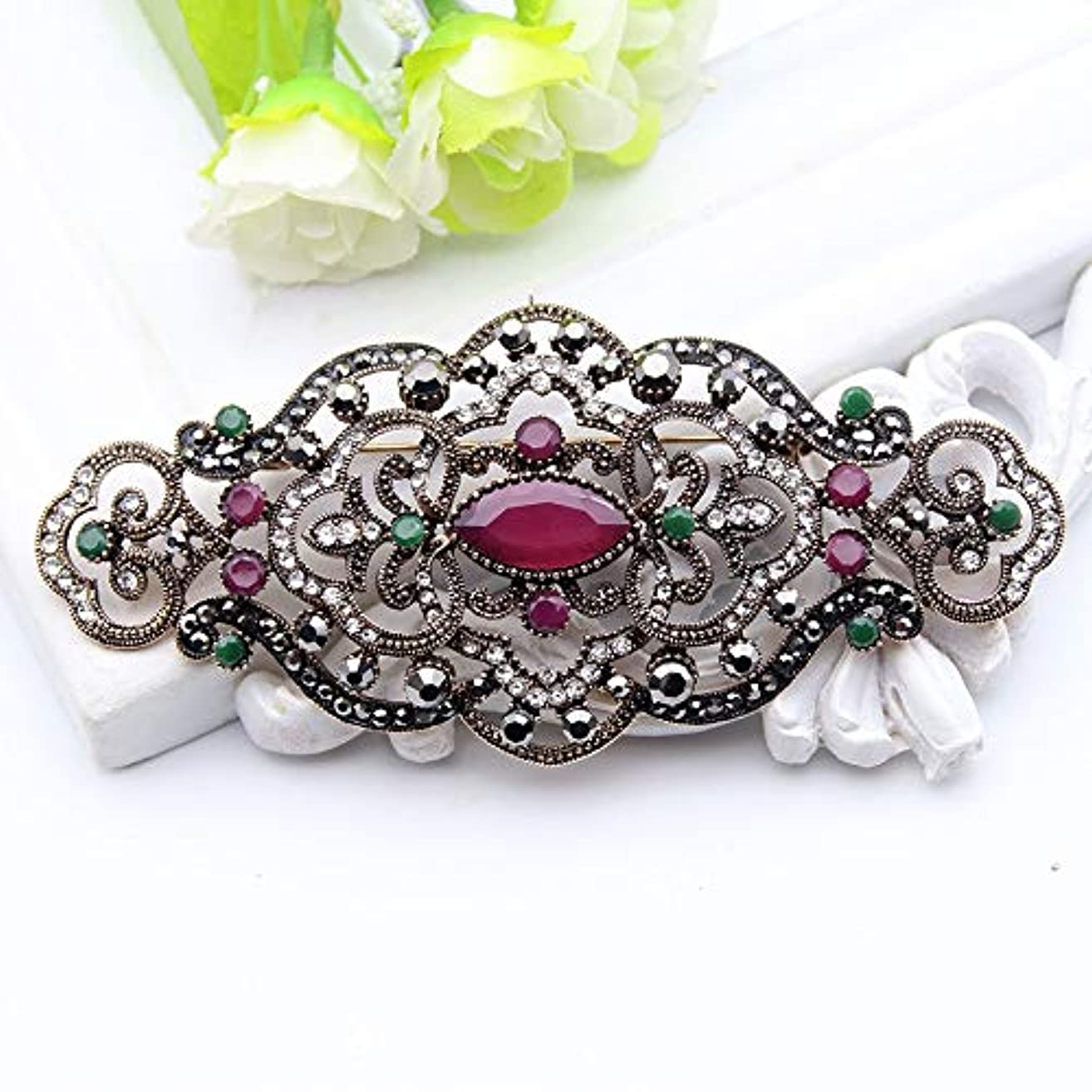 Plus Size Women Brooch Ellipse Hollow Out Flower Cap Badge Hairpin Belt Pin Antique Gold Color Rhinestone Turkish Resin Jewelry-in Brooches