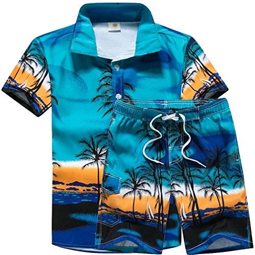 JEELINBORE Herren Hawaiihemd Bermuda Shorts für Karneval Party Strand Outfit Palmen Meer Fancy Kostüm Badeshorts (Blau, L)