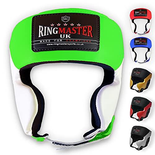 UK Ringmaster Boxen Kopfschutz Synthetik Leder grün weiß, Herren Damen, Green and White