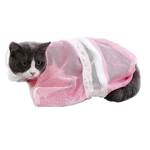 LINVINC Katzen Waschen Pflege Pflegetasche - Haustier Katzen Waschende Bad Tasche Badetasche Duschtaschen zum Dusche Injizieren Untersuchen Nagelschneidens - Rosa