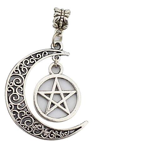 Timando - Collana pentagramma con ciondolo a forma di luna e Wicca, 100% nuovo e di alta qualità