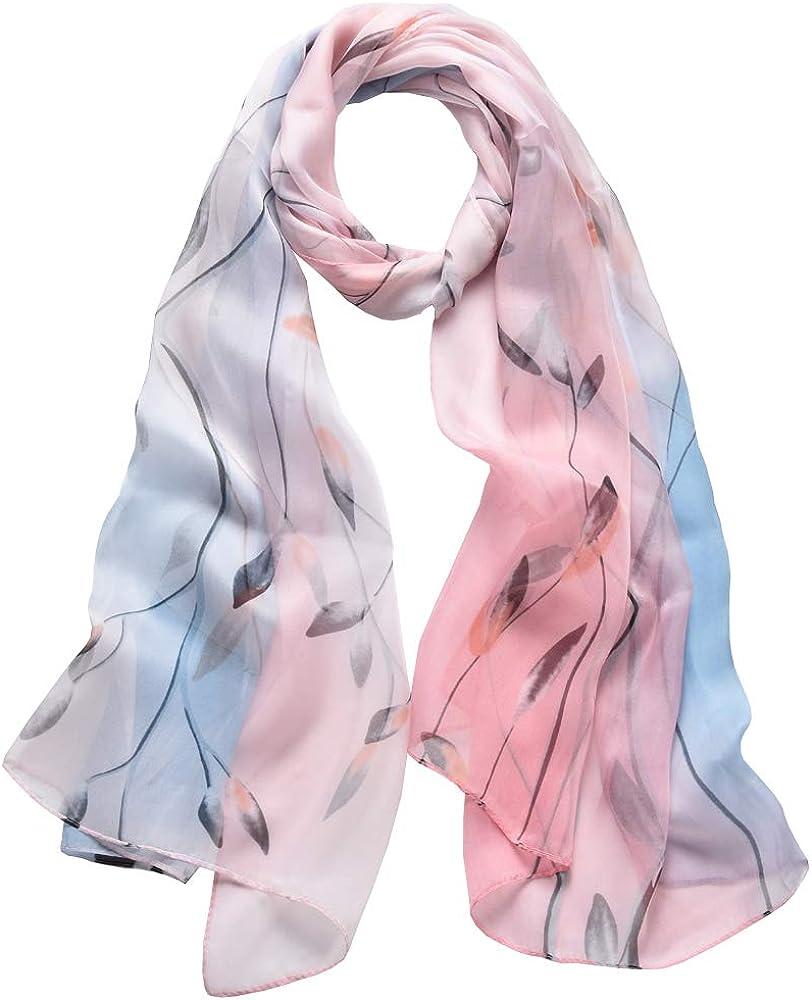 Foulard Donna Seta Sciarpa Leggero Lungo Elegante Naturale 100/% Silk Scarf Regalo