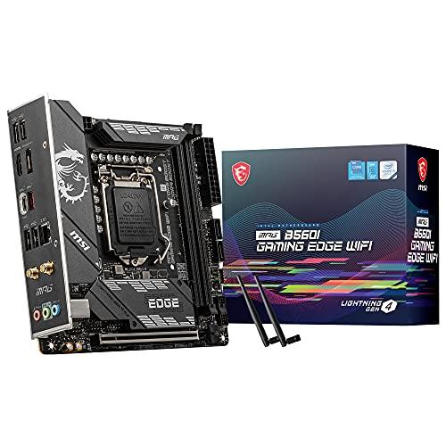 MSI MPG B560I GAMING EDGE WIFI, Scheda madre Gaming, Mini-ITX - Supporta i processori Intel Core 11th gen, LGA 1200 - DDR4 Boost (5200MHz/OC), 1 x PCIe 4.0 x16, 2 x M.2 Gen4/3, 2.5G LAN, Wi-Fi 6E