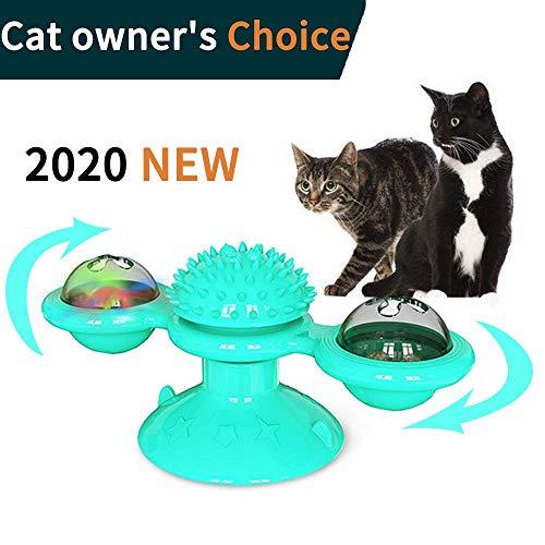 Qsnn Katzenspielzeug Windmühle, Catnip Katze Spielzeug Beschaftigung für Katze und Kätzchen, LED Interaktives Katzenspielzeug mit Katzenminze zu Spielen, Massage und Zähne Putzen - Blau