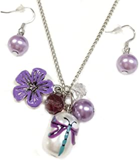Linpeng Dragonfly Beads Necklace Earrings Jewelry Set, Violet
