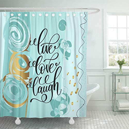 """Emvency Waterproof Fabric Shower Curtain Hooks Live Love Laugh Lettering Positive Quote on Abstract Motivational and Inspirational Phrase 72""""X72"""" Bathroom Odorless Eco Friendly"""