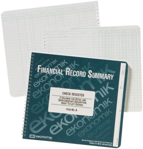 Ekonomik Wirebound Check price Register Purchase Accounting Sheet s System - 40