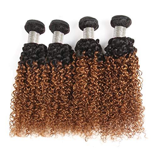 Jiuling 2 Tone Ombre Brazilian Kinky Curly 4 Bundles 100% Unprocessed Human Hair(12121212,1B/30) Wet and Wavy Bundles Ombre Kinky Curly Bundles Human Hair Weaves