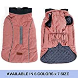 FOREYY Reflective Dog Coats with Leash Harness Attachment Hole, Winter Vest Jackets for Small Medium Large Dogs Windproof Snowsuit Cold Weather Pet Apparel Clothes Sweaters(Pink,L)