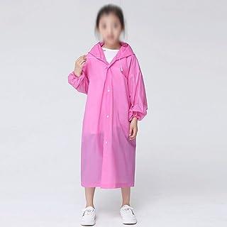 WZHZJ Fashion EVA Children Pink Raincoat Thickened Waterproof Rain Coat Kids Clear Transparent Tour Waterproof Rainwear Suit