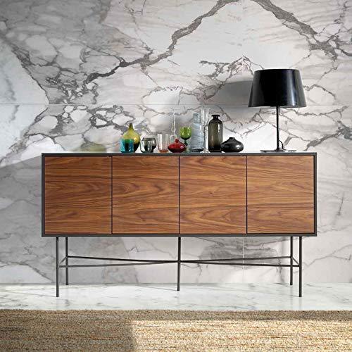 M-034 dressoir modern, kleur notenhout en metaal, Singapore grijs