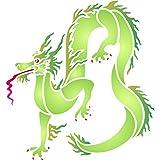 Dragon Pochoir–réutilisable Oriental asiatique Dragon Chinois murale Pochoir–Utilisation sur...