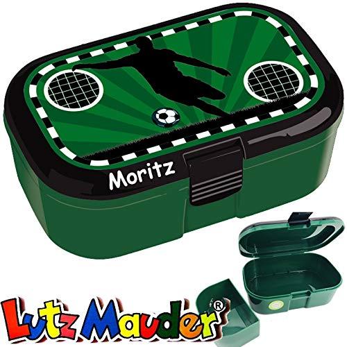 Lunchbox * Fussball Plus Wunschname * für Kinder von Lutz Mauder | Brotdose mit Namensdruck | Perfekt für Groß und Klein | Vesperdose Brotzeitbox Brotzeit Schule Soccer (mit Namen)