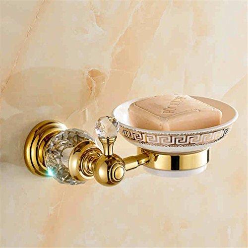 D&D-Bathroom Accessories Badaccessoires Sets/Die vergoldete Kupfer Kristallbad Metallaufhänger Handtuchhalter zweipolige Toilettenpapier Rack WC Bürstenhalter, Seifenschale