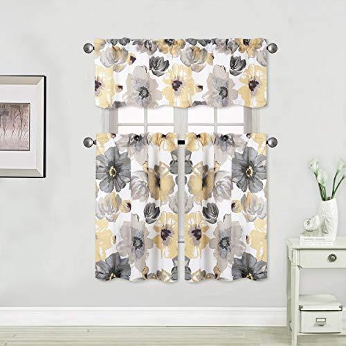 "3pc Blackout Curtains Floral Rod Pocket Kitchen Curtain Set Short Window Treatment Multi Color Valance Tiers 36"" Length Paisley Printed Decor Bathroom ( 3pc Yellow )"