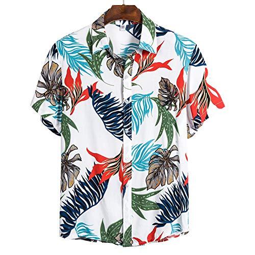Camisas de hombre hawaianas informales salvajes estampadas de manga corta blusas tops - - XX-Large