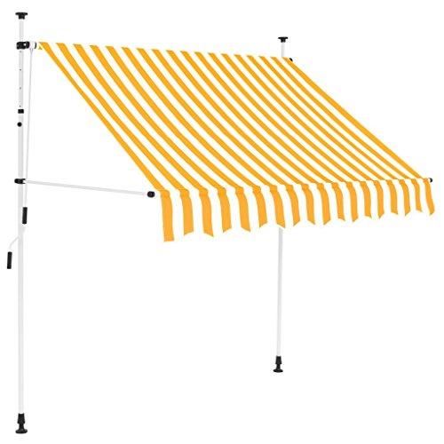 Festnight Toldo Manual Retráctil Toldos para Jardin Toldo Exterior Toldo Terraza Altura Ajustable 150 cm Amarillo y Blanco a Rayas