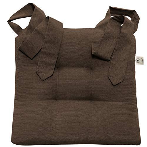 JEMIDI Stuhlkissen Sitzkissen mit Schleifenband Stuhlkissen Esszimmer Schleife Stuhl Kissen Rattanstühe Extra Dick Bequem Leinenlook (Braun)