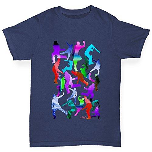 TWISTED ENVY Jungen T-Shirt Cricket Rainbow Silhouette Print Age 7-8 Marineblau