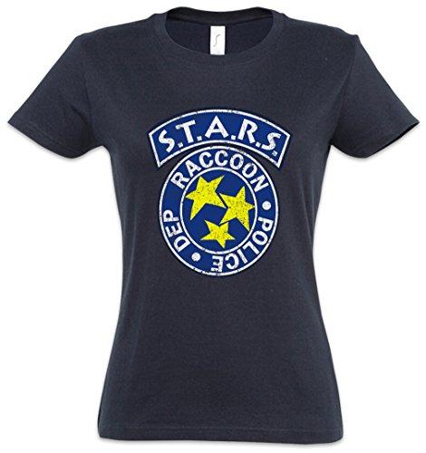 Urban Backwoods Vintage S.T.A.R.S. Logo Damen T-Shirt Blau Größe L
