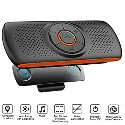 Bluetooth Hands Free Speakerphone for Cell Phone, Wireless Car Kit Music Player Adapter with Back-Clip, Portable Bluetooth Speaker for Home/Sport/Outdoor Use, Siri/Google Assistant/TF Card Supported