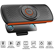 Bluetooth Speaker, Netvip Upgraded Wireless Hands-Free Multi-Functional Car Speakerphone Sun Visor Music Player, Connect 2 Phones Simultaneously, Support Handsfree Talking TF Card Play GPS Broadcast, Siri Supported