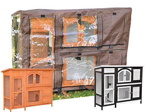 nanook Schutzhülle Wetterschutz Cover für Kaninchenstall Hasenstall Jumbo, 148 x 51 x 105 cm - Farbe: braun, schwarz