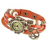 Taffstyle Damen-Armbanduhr Analog Quarz mit Leder-Armband Geflochten Charms Anhänger Uhr Retro Vintage Anker Gold Orange
