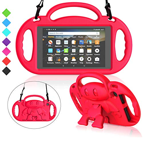 MENZO Kids Case for All-New Fire 7 2019, Light Weight Shockproof Shoulder Strap Handle Stand Case for Fire 7 Inch (Compatible with 9th Generation 2019 / 7th Generation 2017) - Red