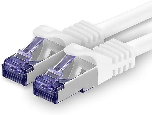 1aTTack.de Cat.7 Câble réseau 3m - Blanc - 1 pièce Cat7 Câble Ethernet PoE LAN 10 GB s S-FTP PIMF Set Patch Cat 7 Câb...
