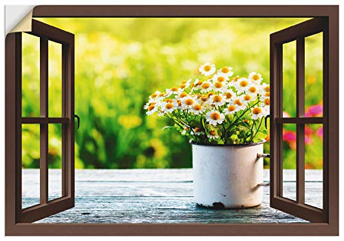 Artland Wandbild selbstklebend Vinylfolie 70x50 cm Wanddeko Wandtattoo Fensterblick Fenster Blumen Gänseblümchen Garten Frühling T4UF