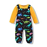 2PCS Newborn Baby Girl Toddler Clothes Suspenders Jumpsuit Set Infant Girls Clothes Long Sleeve Shirt+Romper Dinosaur Printed Overalls Fall Winter Outfits(Yellow,0-6 Months)